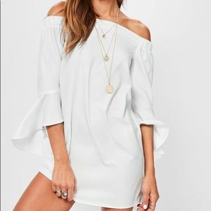 Never worn White Bardot Frill Sleeve Shift Dress